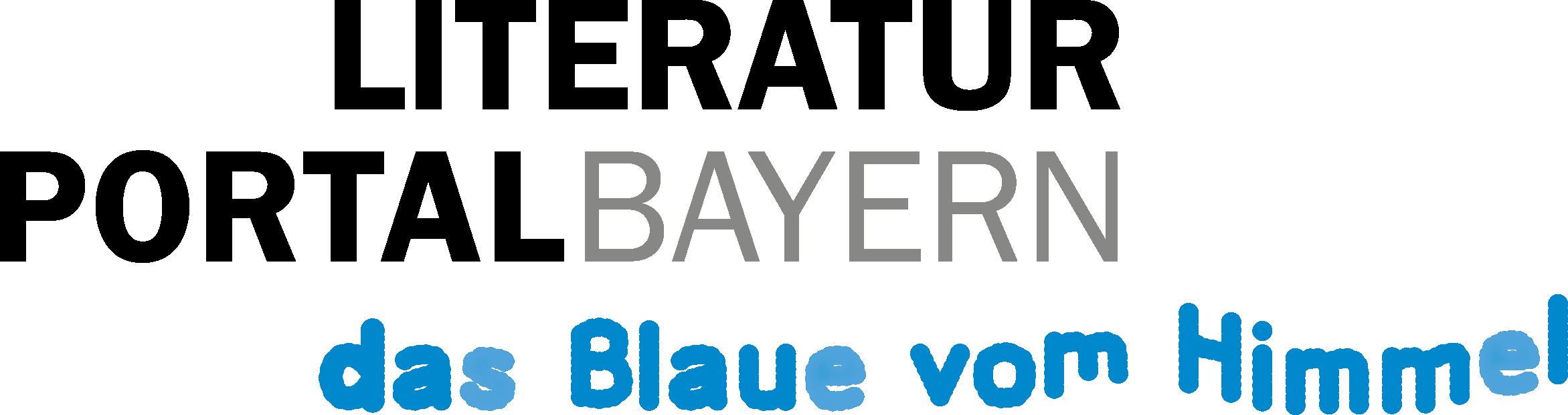 Literaturportal Bayern Logo (Slogan: das Blaue vom Himmel)